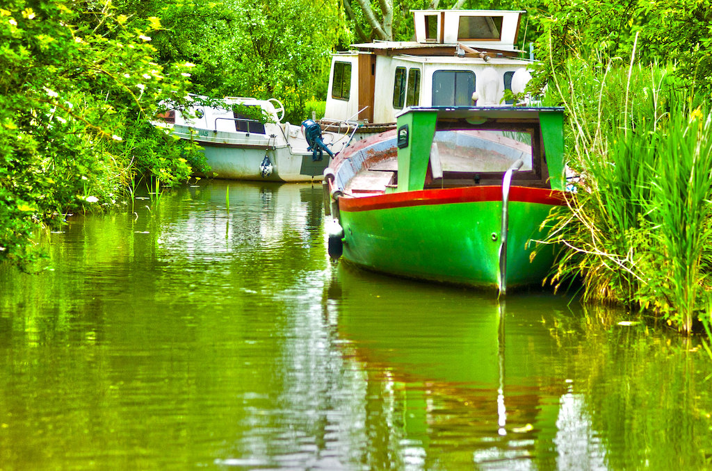 bateau vert marais audomarois