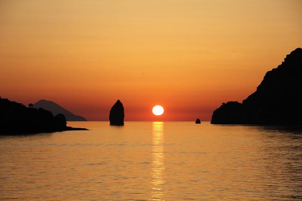 vulcano, aeolian islands, sunset