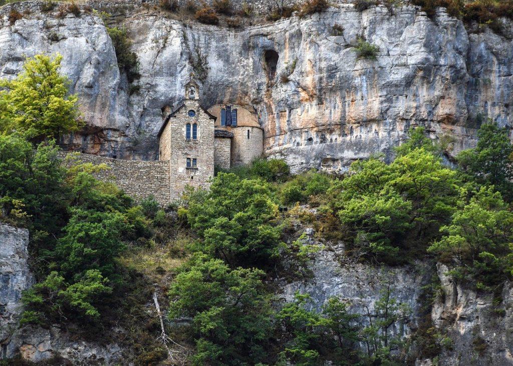 rock, church, landscape, tarn, sainte-enimie