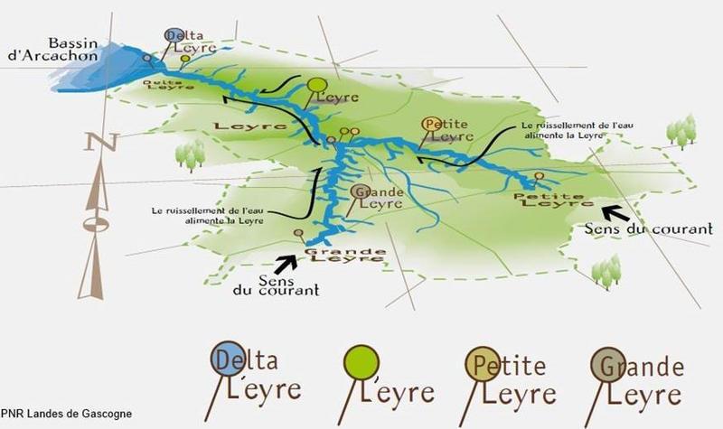 carte vallée Eyre Leyre