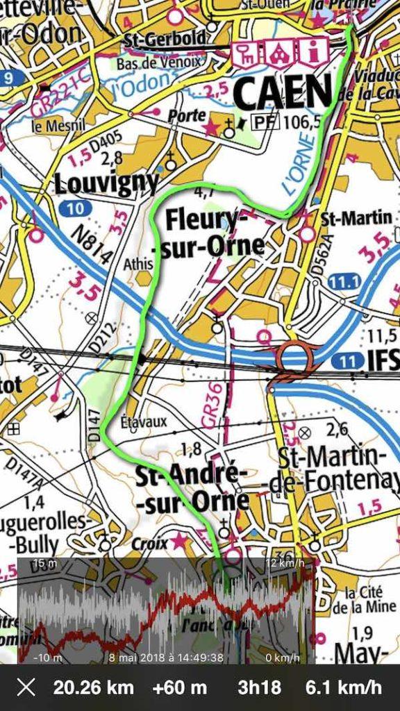 plan parcours kayak Orne