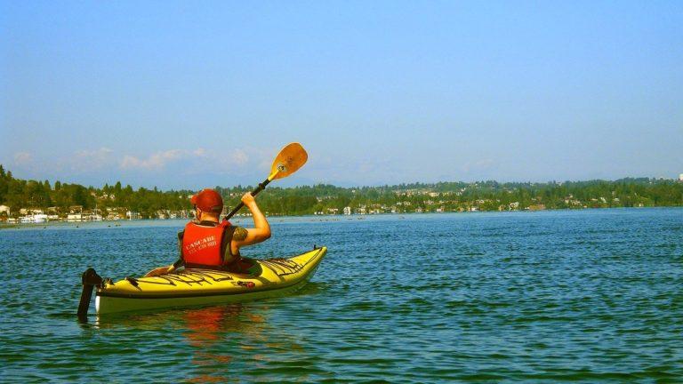 canoe, kayak, lake, water
